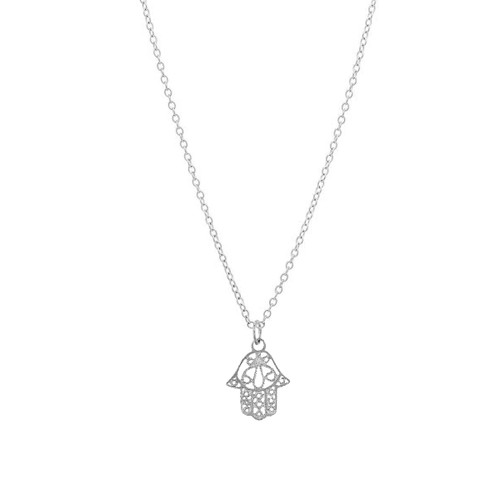 14K White Gold Hamsa Necklace