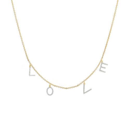 Diamond love necklace 14k yellow gold