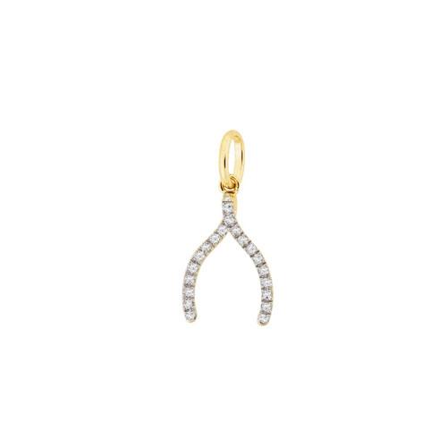 Diamond Wishbone Charm 14KY