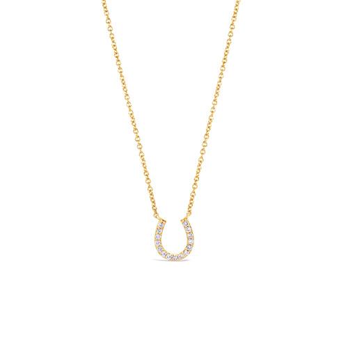 Diamond Horseshoe Necklace 14K Yellow Gold