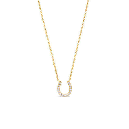 Diamond Horseshoe Necklace 14K Yellow Gold