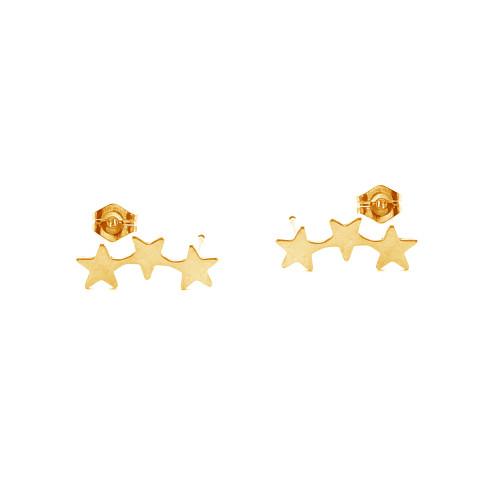 Triple Star Ear Climber Stud Earrings