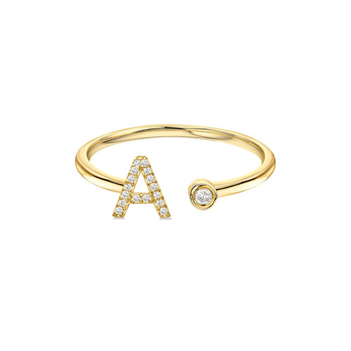 Diamond Initial With Bezel Cuff ring 14K Yellow Gold