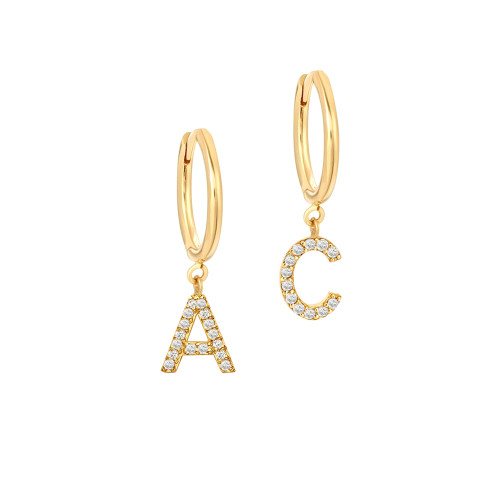 Small Hoop Earrings With Diamond Letter
