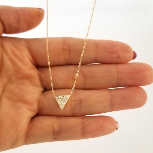 Diamond Triangle Necklace 14K Gold