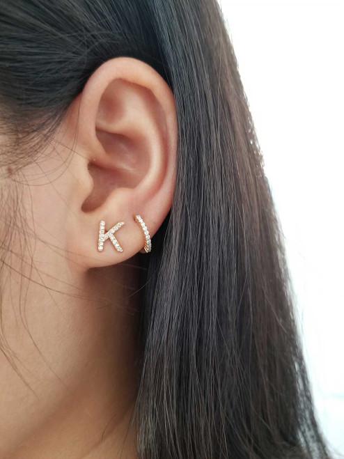Diamond Huggies Hoop Earrings