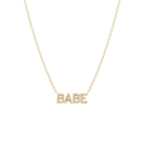 Diamond Babe Letter Necklace 14K Yellow Gold