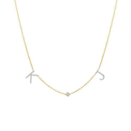 Diamond space letter with bezel necklace