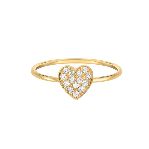 Diamond Heart Ring 14K Yellow Gold