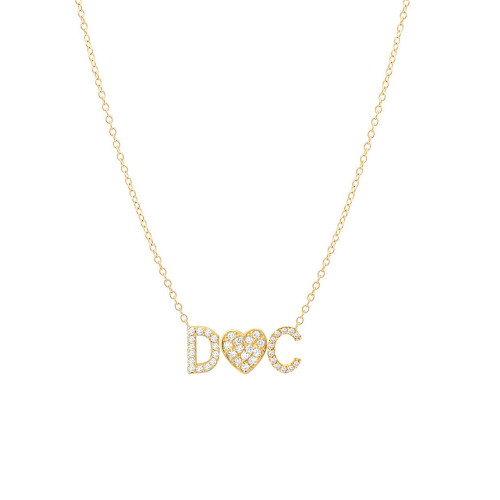 Diamond initial heart charm necklace 14k yellow gold