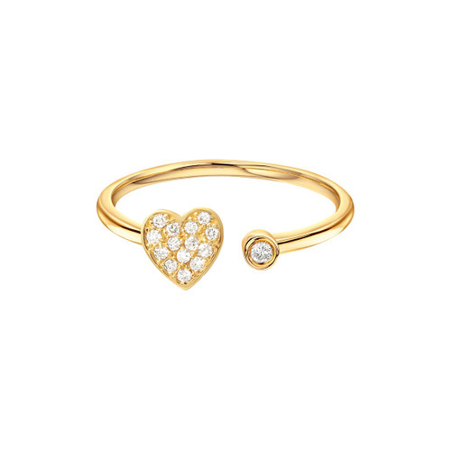 Diamond Heart With Bezel Cuff Ring 14K Yellow Gold