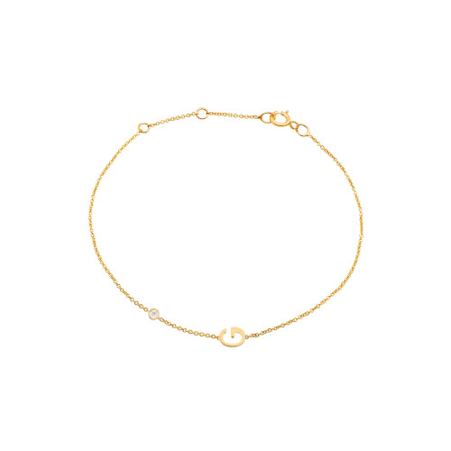 Single Diamond with Initial Bracelet 14K Yellow Gold