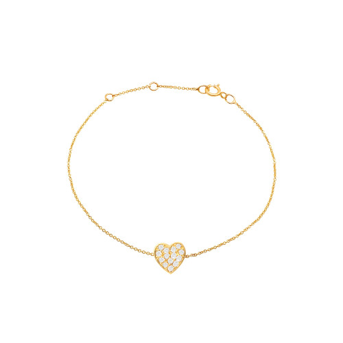 Diamond Heart Bracelet 14K  Yellow Gold