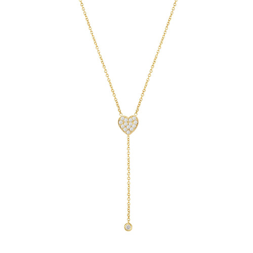 14KY Diamond Heart Drop Bezel Necklace