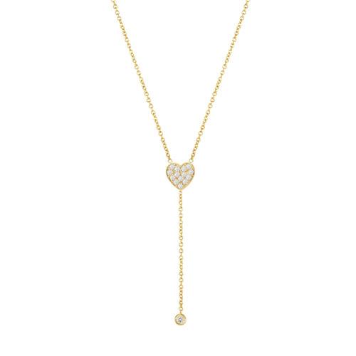 14KY Diamond Heart Drop Bezel Necklace