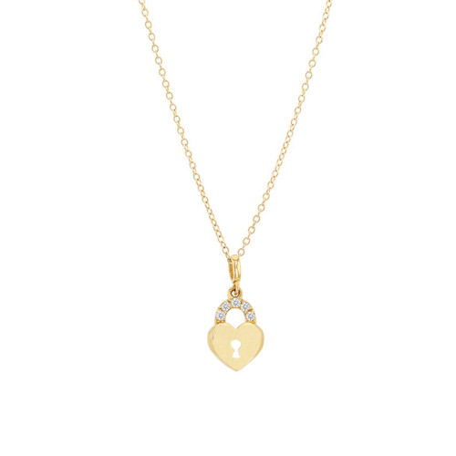 Diamond Padlock Necklace in 14K Gold