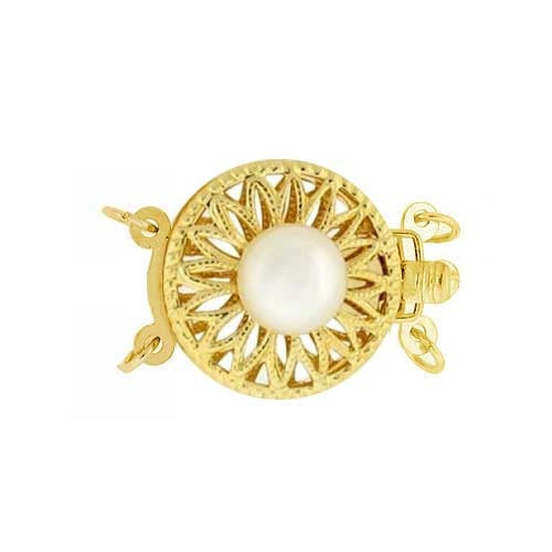14K Yellow Gold 13mm Round Filigree Pearl Clasp