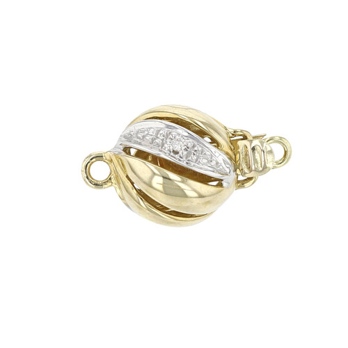 14K Gold Diamond Ball Clasp For Necklace / Bracelet