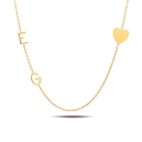 14K yellow gold sideways two initials and heart necklace