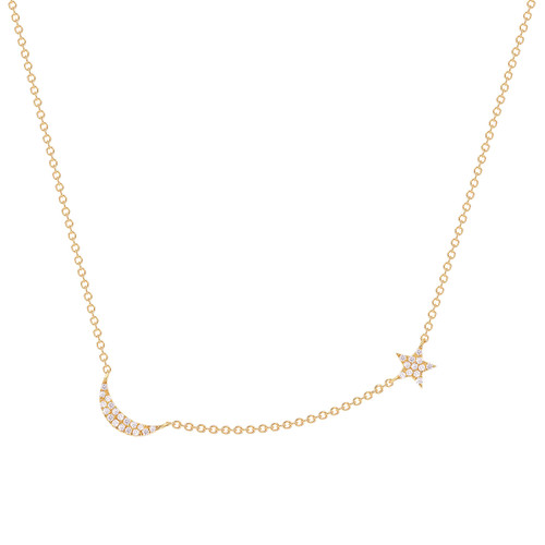 Diamond Moon and Star Necklace 14K Gold