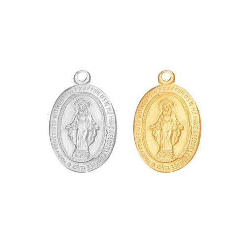 Blessed Mother Virgin Mary Charm with Closed Ring