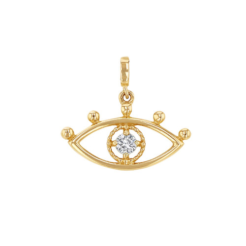 14K Yellow Gold Diamond Eye Charm For Necklace or Bracelet