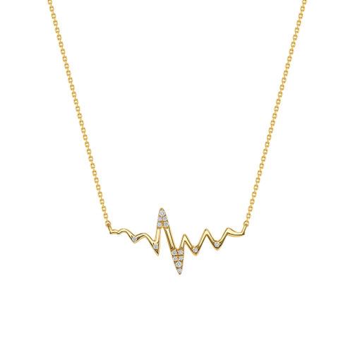 Diamond Heartbeat Necklace 14K Yellow Gold
