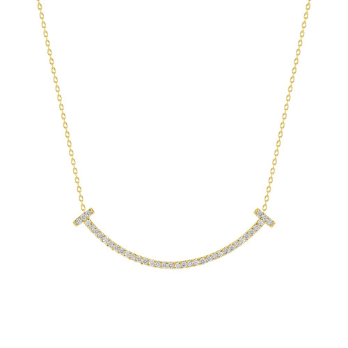 Diamond Happy Face Necklace 14K Gold