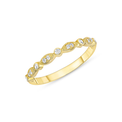 Marquise and Dot Diamond Engagement Band 14K Yellow Gold