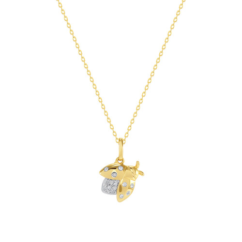 Diamond Cicadas Charm Necklace 14K Yellow Gold