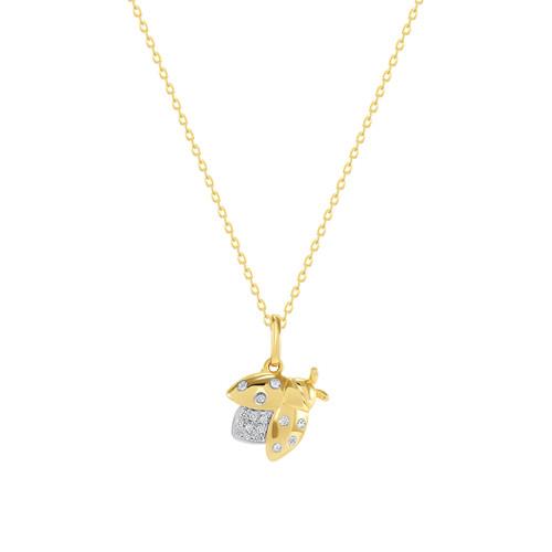 Diamond Cicadas Charm Necklace 14K Yellow Gold