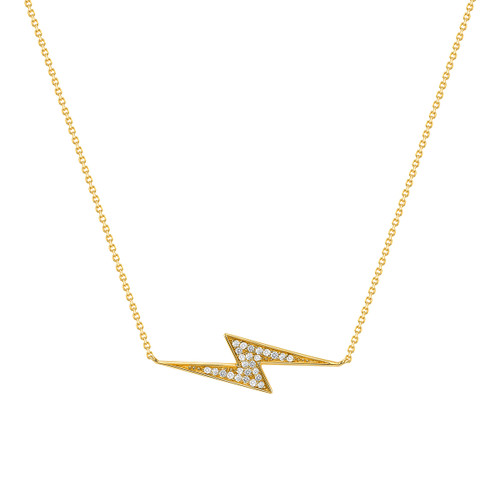 Lightning Bolt Diamond Necklace 14K Yellow Gold