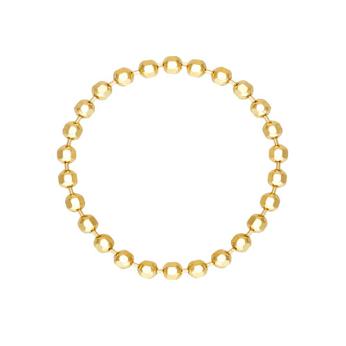 Diamond Cut Bead Chain Ring 14K Yellow Gold