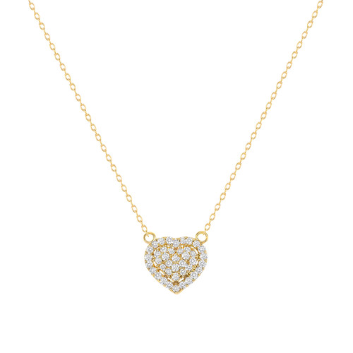 Diamond Heart Necklace 14K Yellow Gold