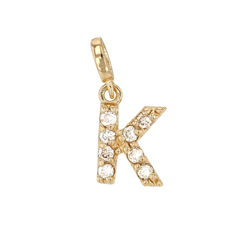 Mini Diamond Initial Charm in 14K Gold