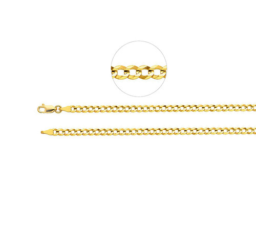 14K yellow gold Cuban chain necklace with lobster clasp