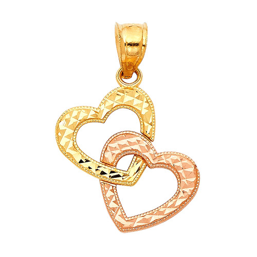 Two Tone Double Heart Charm in 14K Gold