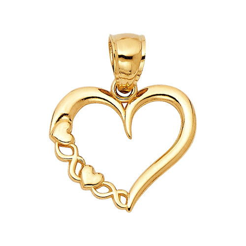 Fancy Heart Charm 14K Yellow Gold