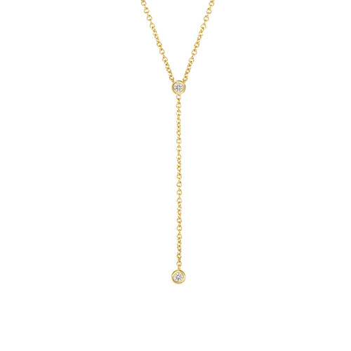 Diamond Bezel Lariat Necklace in 14K Yellow Gold
