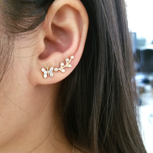 Diamond Leaf Stud Earring 14K Gold