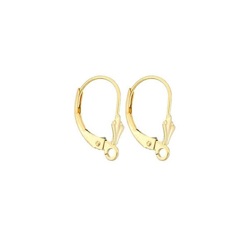 14K Gold Tulip Lever Back Earring