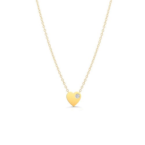 Single Diamond Heart Necklace 14K Yellow Gold