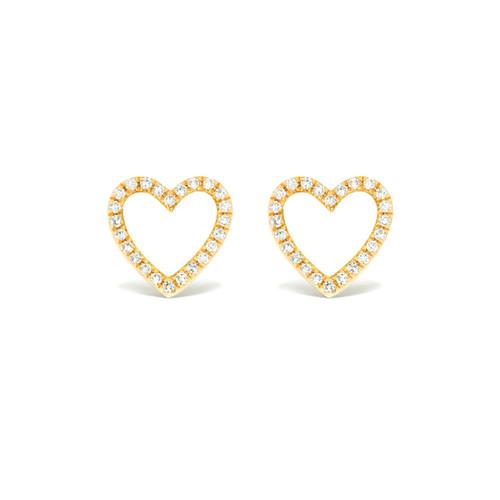Diamond Open Heart Stud Earring 14K Yellow Gold