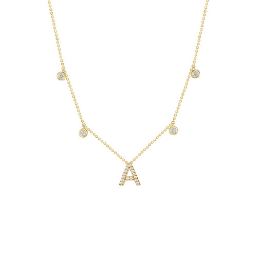 Drop Bezel Diamond with Diamond Initial Necklace 14K Gold