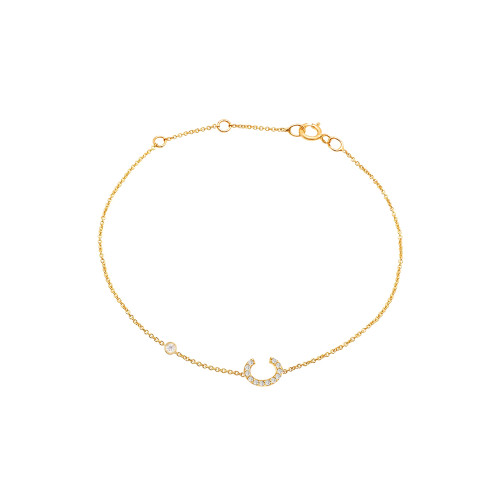 Diamond Initial with Bezels Bracelet 14K Gold
