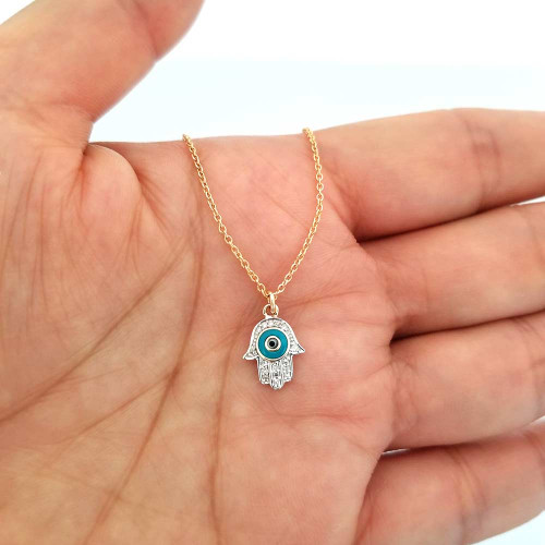 Diamond and Turquoise Evil Eye Hamsa Necklace 14K Gold