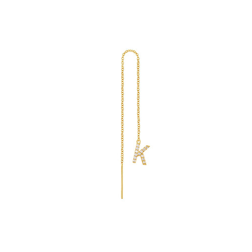 Diamond Initial Threader Earring 14K Gold
