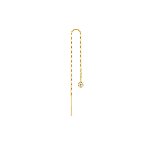 Bezel Diamond Threader Earring 14K Yellow Gold