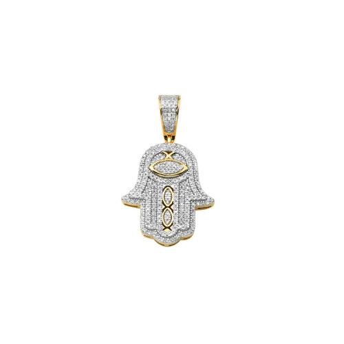 Diamond Hamsa Pendant 10K Gold