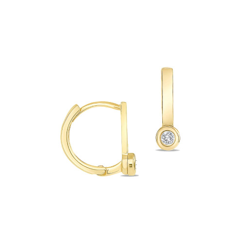Diamond Huggie Flat Bar Hoop Earring 14K Gold